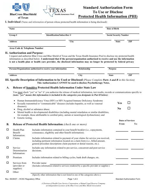 Standard Authorization Form To Use Or Disclose Protected Health