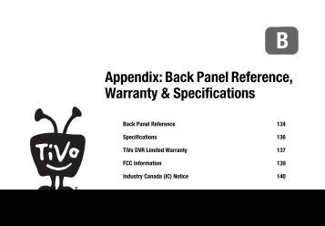 Back Panel Reference, Warranty & Specifications - TiVo