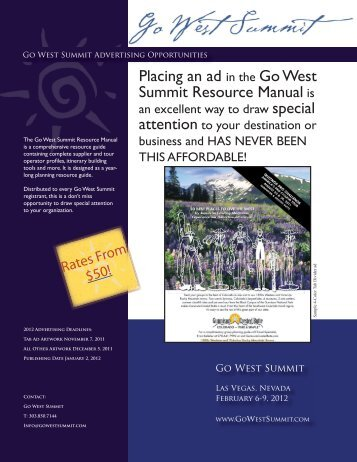 Placing an ad in the Go West Summit Resource Manual is