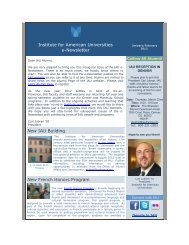 Institute for American Universities e-Newsletter New IAU Building ...
