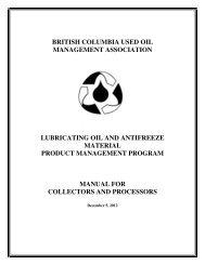 BCUOMA Manual for Collectors & Processors - Alberta Used Oil ...