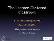 The Learner-Centered Classroom - StarTalk