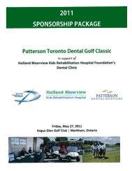 2011 SPONSORSHIP PACKAGE Patterson Toronto Dental Golf ...