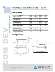 140 MHz/12.0 MHz B/W SAW Filter 162945 Specifications