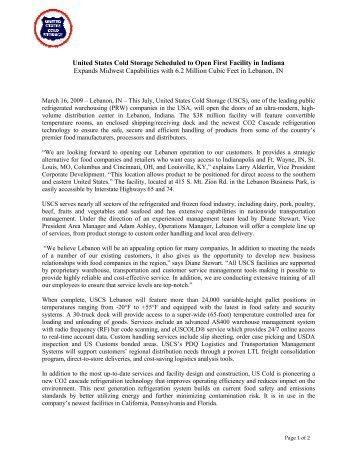 SHIELD NEWSLETTER 4-05 - United States Cold Storage
