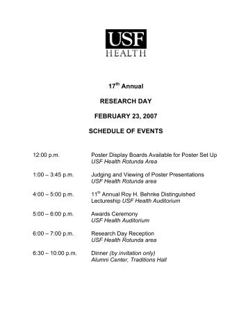 17th Annual RESEARCH DAY FEBRUARY 23, 2007 SCHEDULE ...