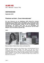 Hintergrundtext Corso Internationale zur Alno Design Tour 2010