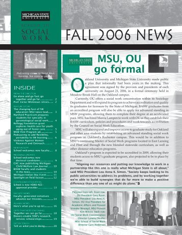 FALL 2006 NEWS - School of Social Work - Michigan State University