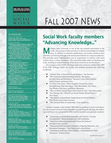 Fall 2007 News - School of Social Work - Michigan State University