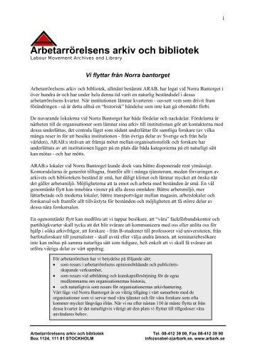 ARAB hösten 2011 - Arbetarrörelsens arkiv och bibliotek