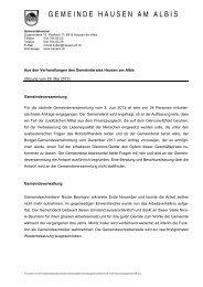 Verhandlungsbericht vom 28.05.2013 - Gemeinde Hausen am Albis