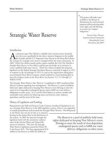 Strategic Water Reserve - Utton Transboundary Resources Center