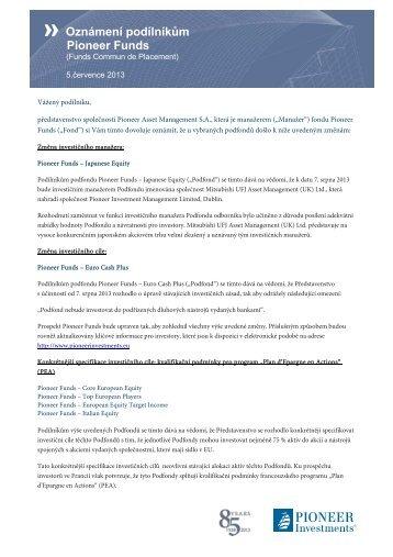 Oznámení podílníkům Pioneer Funds - Pioneer Investments