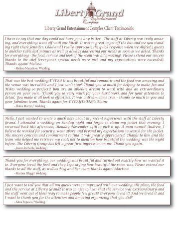 wedding testimonials - Liberty Grand