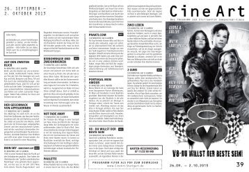 26. SEPTEMBER – 2. OKTOBER 2013 - CINEART Stuttgart