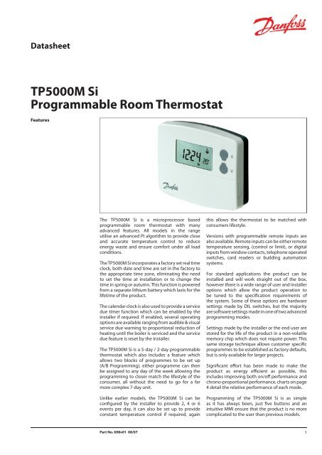 tp5000m si programmable room thermostat