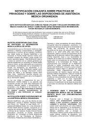 notificación conjunta sobre practicas de privacidad y sobre las ...