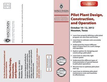 Pilot Plant Design, Construction, and Operation - University of ...