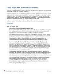 Federal Budget 2012 – INITIAL SUMMARY & CONSIDERATIONS