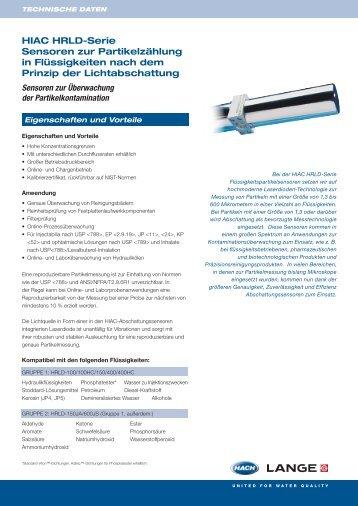 HIAC HRLD-Serie Sensoren zur Partikelzählung in Flüssigkeiten ...