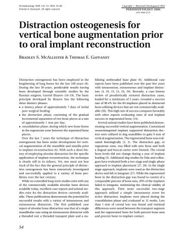 Distraction osteogenesis for vertical bone augmentation prior to oral ...