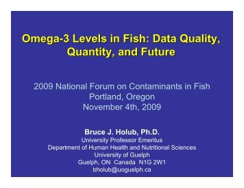 Omega-3 Levels in Fish: Data Quality, Quantity, and Future - Water