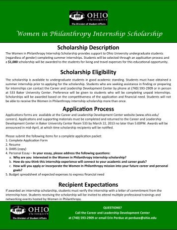 Scholarship Description Scholarship Eligibility ... - Ohio University