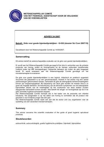 Advies 24-2007 - Favv