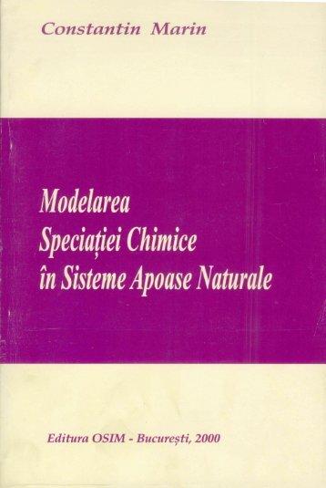 MARIN, C. (2000) – Modelarea Speciaţiei Chimice în Sisteme ...