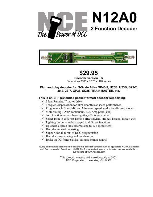 N12A0 2 Function Decoder $29.95 - NCE on