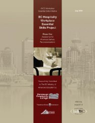 BC hospitality workplace essential skills project, phase one - LinkBC