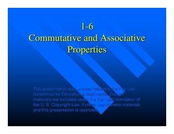 1-6 Commutative and Associative Properties - Mona Shores Blogs