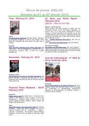 Revue de presse ANGLAIS Semaine du 01 au 07 février 2010 - Scelva