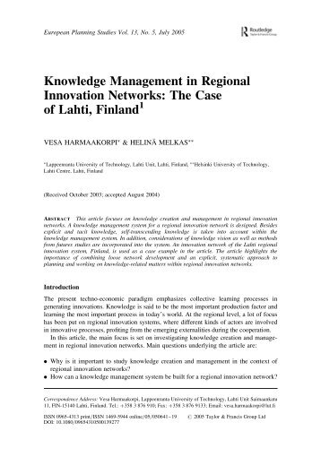 Knowledge Management in Regional Innovation Networks: The ...