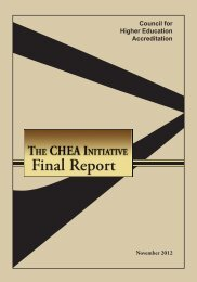 The CHEA Initiative - Council for Higher Education Accreditation