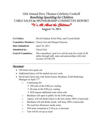 DTCC Table Sales and Sponsorship Report 4-26-13 - Spaulding for ...