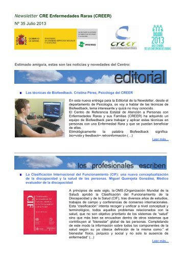 Newsletter CRE Enfermedades Raras (CREER) Nº 35 Julio 2013