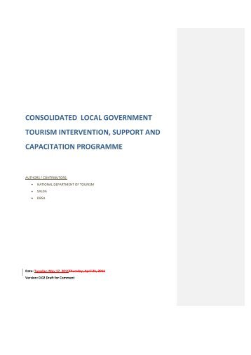 consolidated local government tourism intervention, support and ...