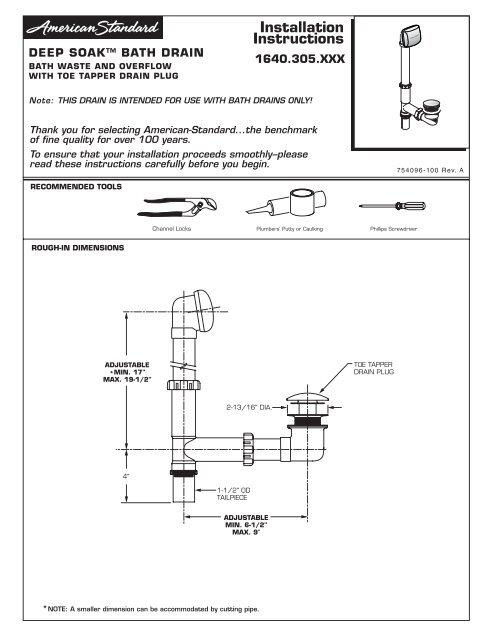 Installation Instructions American Standard Prosite