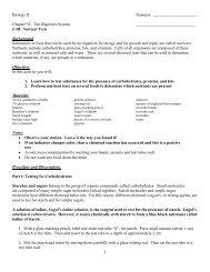 Nutrients Lab Parts I - Biology II