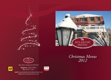 Pre Christmas Menu - Atlantic Hotel