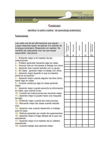 Cuestionario Identifica tu estilo o estilos de aprendizaje preferido(s ...