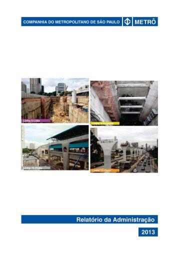 Relatório da Administração - Metrô - Governo do Estado de São Paulo