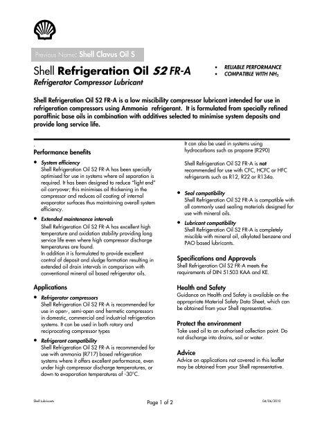 Shell Refrigeration Oil S2 FR-A - Vlamings Olie, Steenbergen