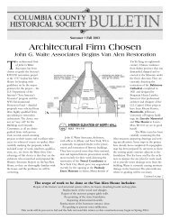Architectural Firm Chosen - Columbia County Historical Society