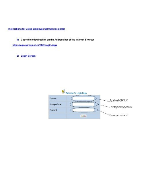 Instructions for using Employee Self Service portal 1) Copy