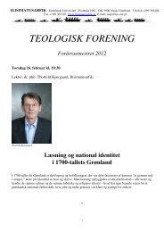 TEOLOGISK FORENING Forårssemestret 2012 - Ilisimatusarfik