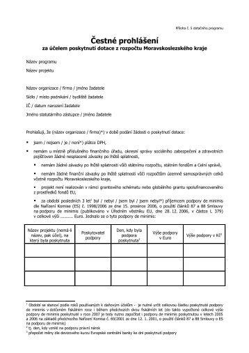Čestné prohlášení (formát PDF; velikost 65 kB)