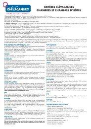 Les critères chambres d'hôtes 2011 - Belfort Tourisme