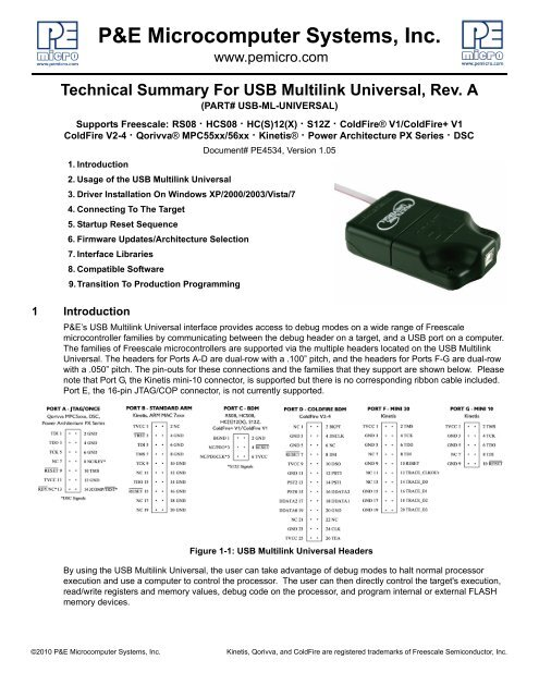 Technical Summary For USB Multilink Universal, Rev  A